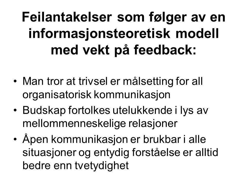 Feilantakelser som følger av en informasjonsteoretisk modell med vekt på feedback: