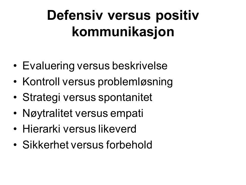 Defensiv versus positiv kommunikasjon