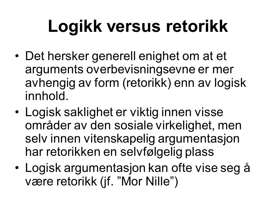 Logikk versus retorikk