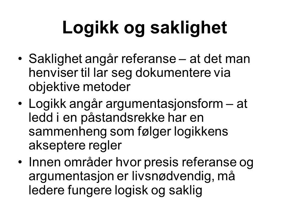 Logikk og saklighet Saklighet angår referanse – at det man henviser til lar seg dokumentere via objektive metoder.