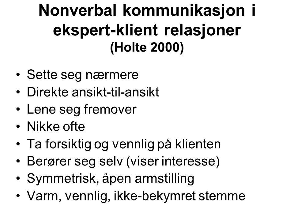 Nonverbal kommunikasjon i ekspert-klient relasjoner (Holte 2000)