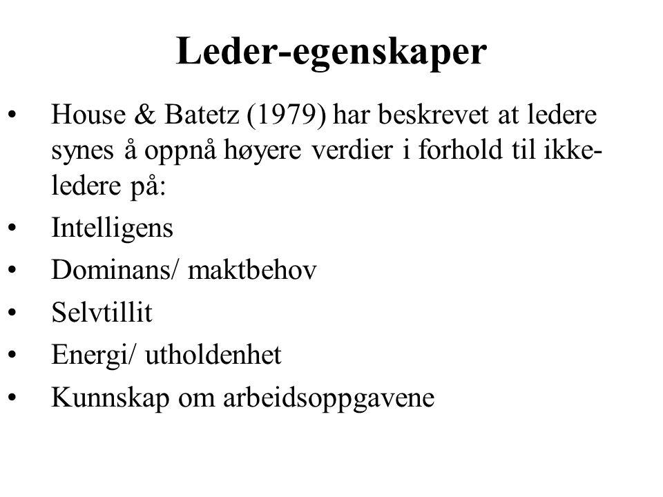 Leder-egenskaper House & Batetz (1979) har beskrevet at ledere synes å oppnå høyere verdier i forhold til ikke-ledere på:
