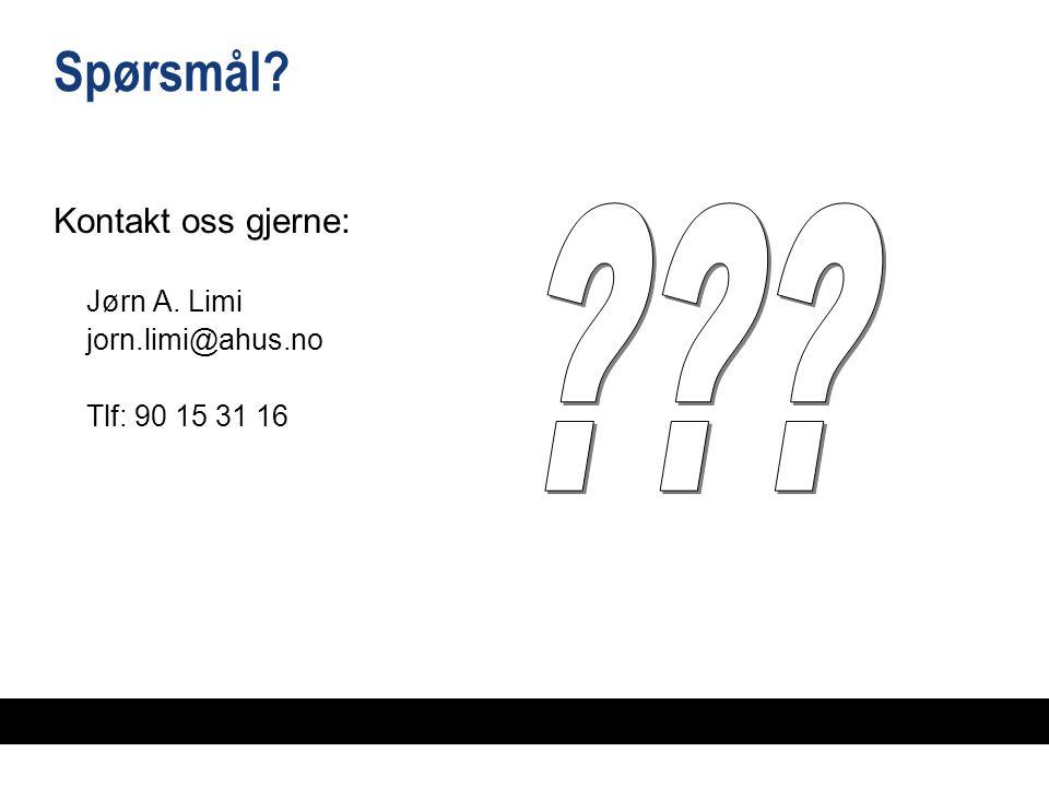 Spørsmål Kontakt oss gjerne: Jørn A. Limi jorn.limi@ahus.no