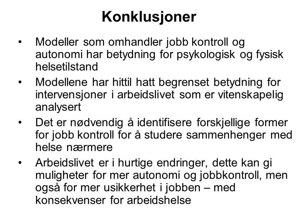 Konklusjoner Modeller som omhandler jobb kontroll og autonomi har betydning for psykologisk og fysisk helsetilstand.