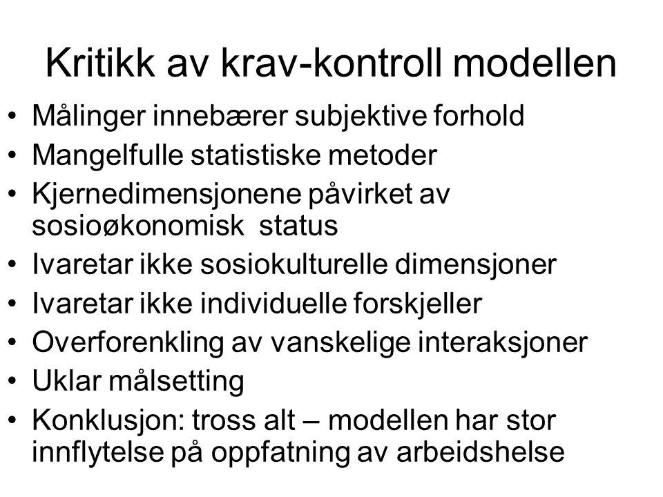 Kritikk av krav-kontroll modellen
