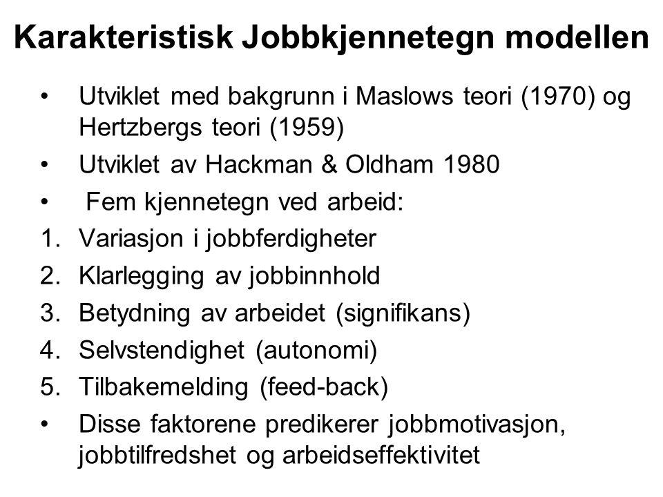 Karakteristisk Jobbkjennetegn modellen