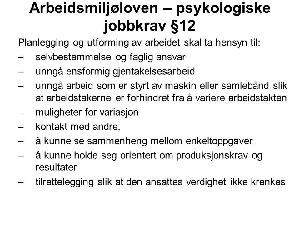 Arbeidsmiljøloven – psykologiske jobbkrav §12