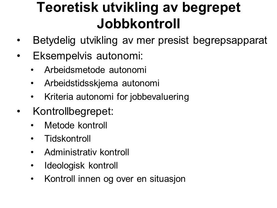 Teoretisk utvikling av begrepet Jobbkontroll
