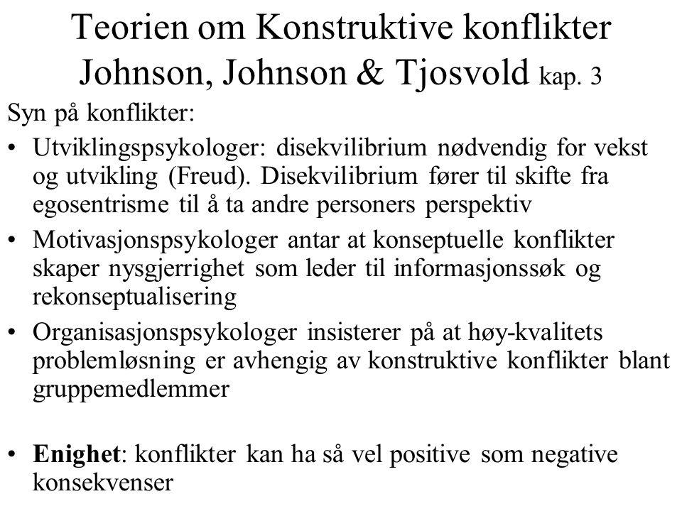 Teorien om Konstruktive konflikter Johnson, Johnson & Tjosvold kap. 3