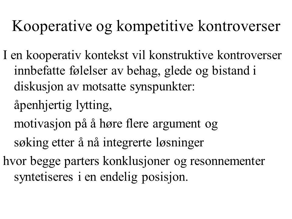Kooperative og kompetitive kontroverser