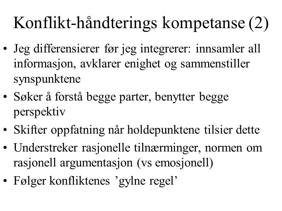 Konflikt-håndterings kompetanse (2)