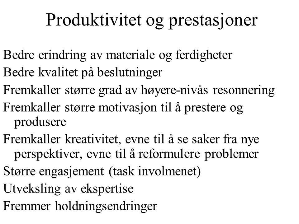 Produktivitet og prestasjoner