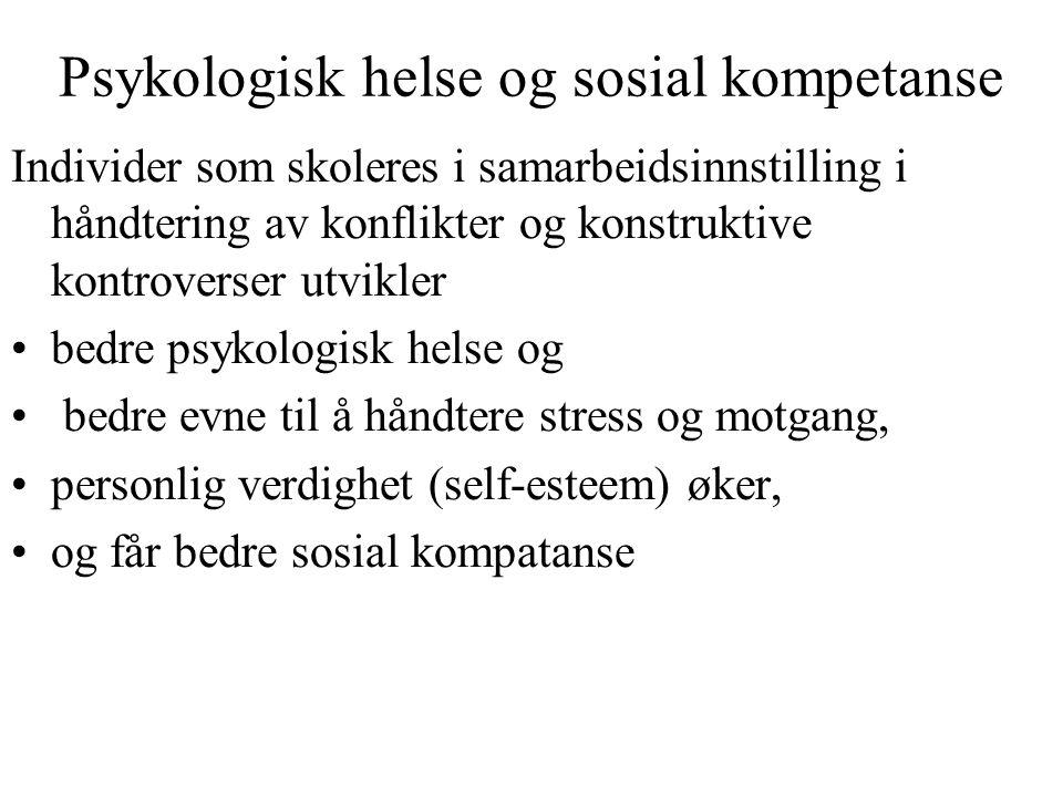 Psykologisk helse og sosial kompetanse