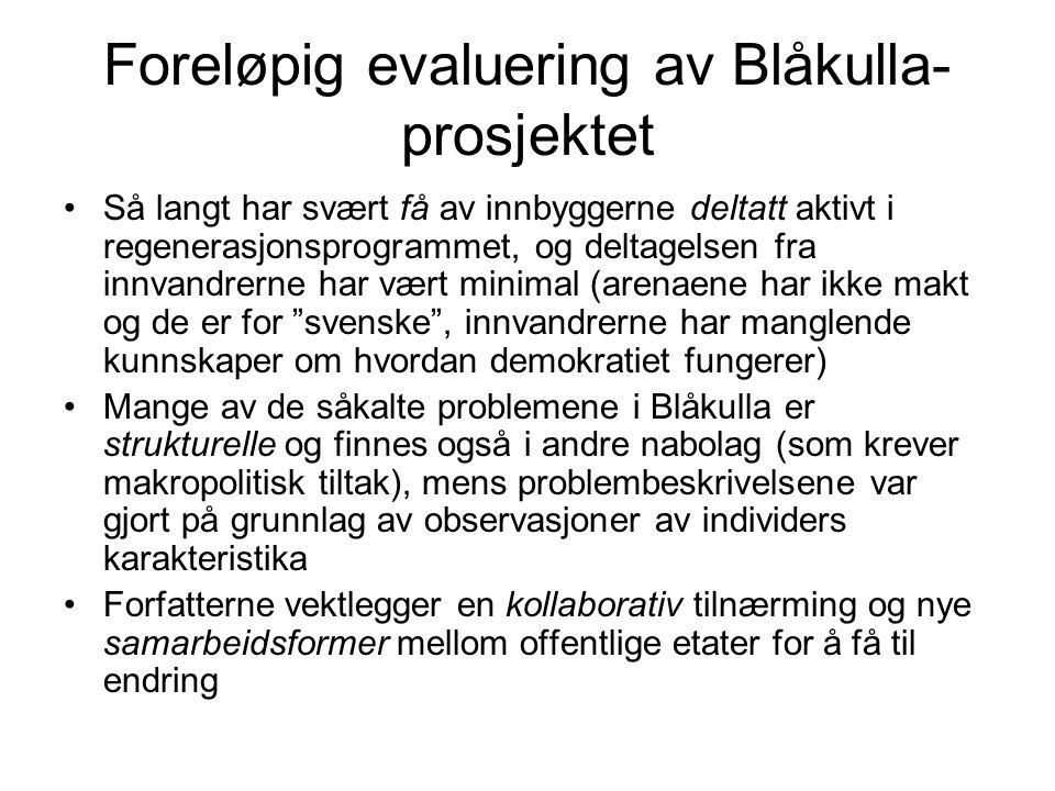 Foreløpig evaluering av Blåkulla-prosjektet