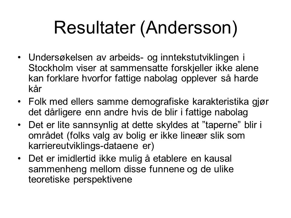 Resultater (Andersson)