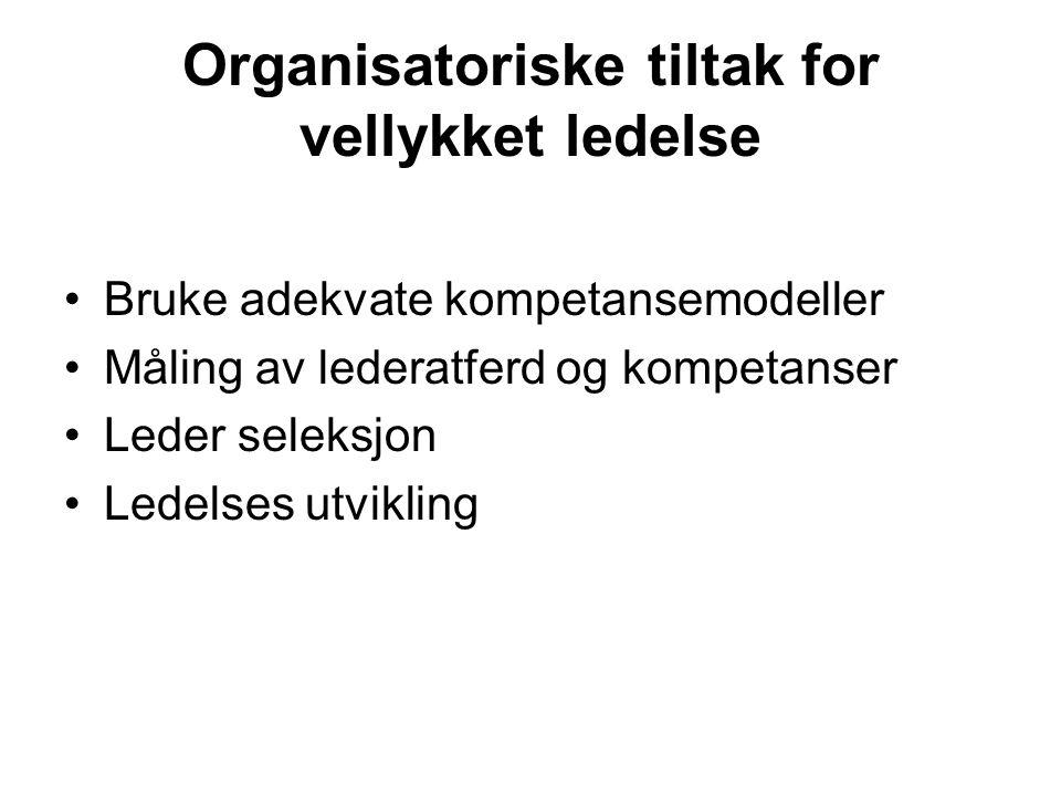 Organisatoriske tiltak for vellykket ledelse