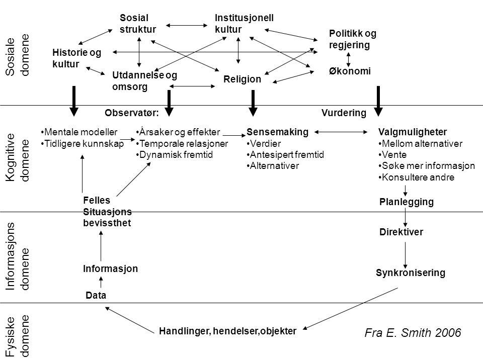 Sosiale domene Kognitive domene Informasjons domene Fysiske domene