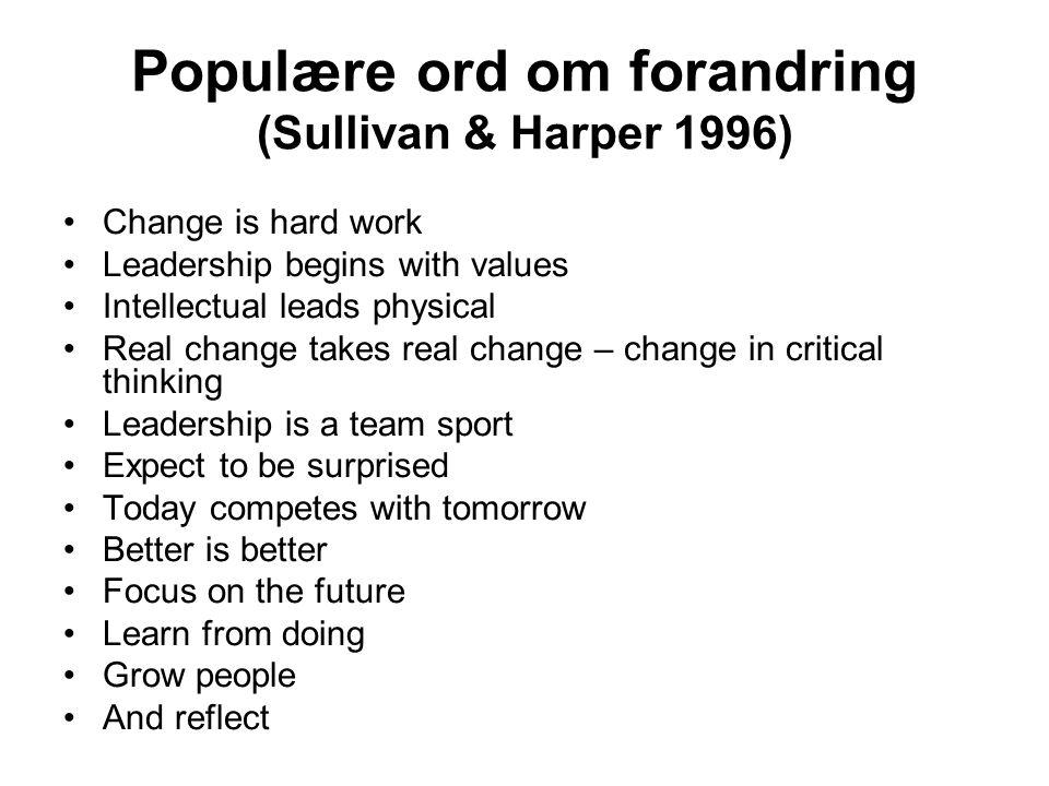 Populære ord om forandring (Sullivan & Harper 1996)