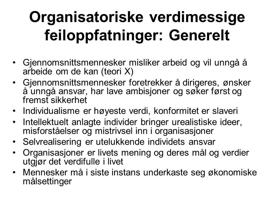 Organisatoriske verdimessige feiloppfatninger: Generelt