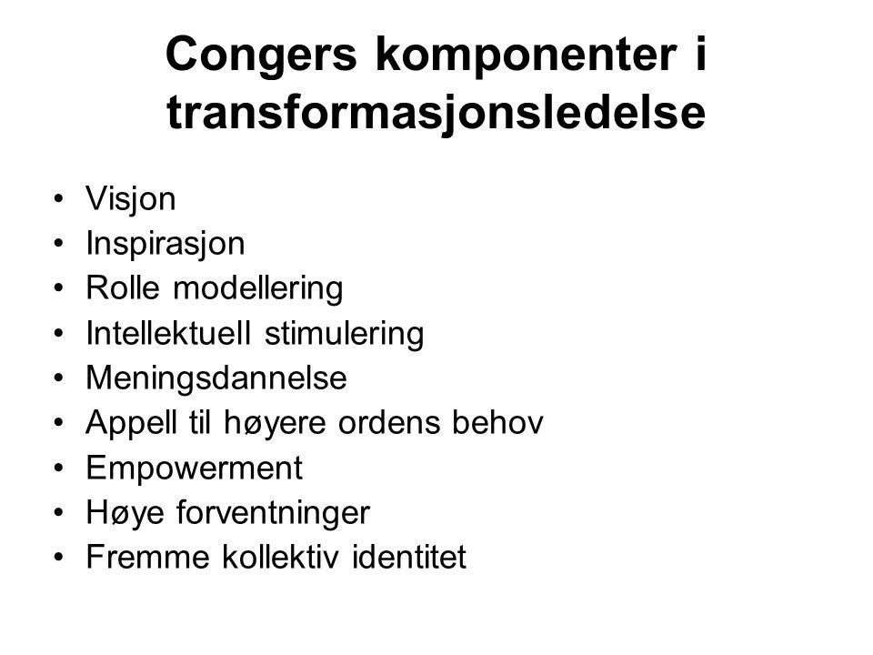 Congers komponenter i transformasjonsledelse