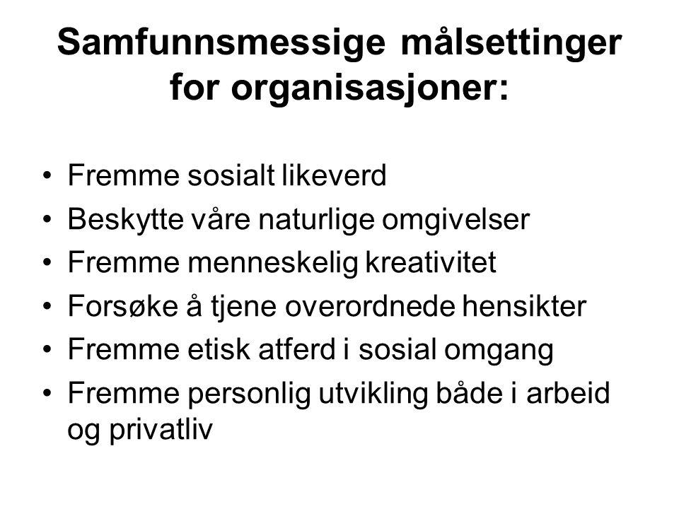 Samfunnsmessige målsettinger for organisasjoner: