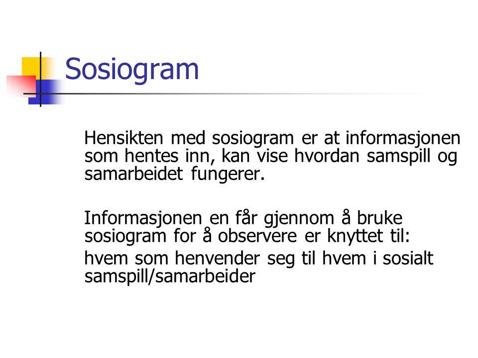 Sosiogram Hensikten med sosiogram er at informasjonen som hentes inn, kan vise hvordan samspill og samarbeidet fungerer.