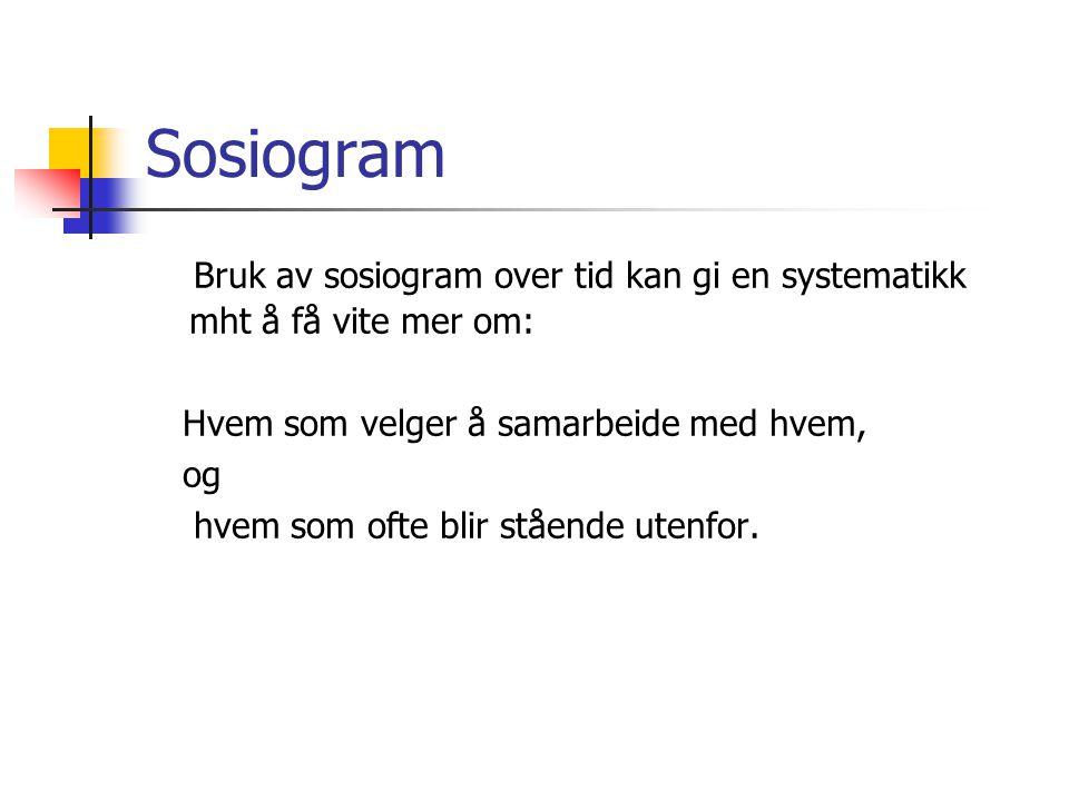Sosiogram Bruk av sosiogram over tid kan gi en systematikk mht å få vite mer om: Hvem som velger å samarbeide med hvem,