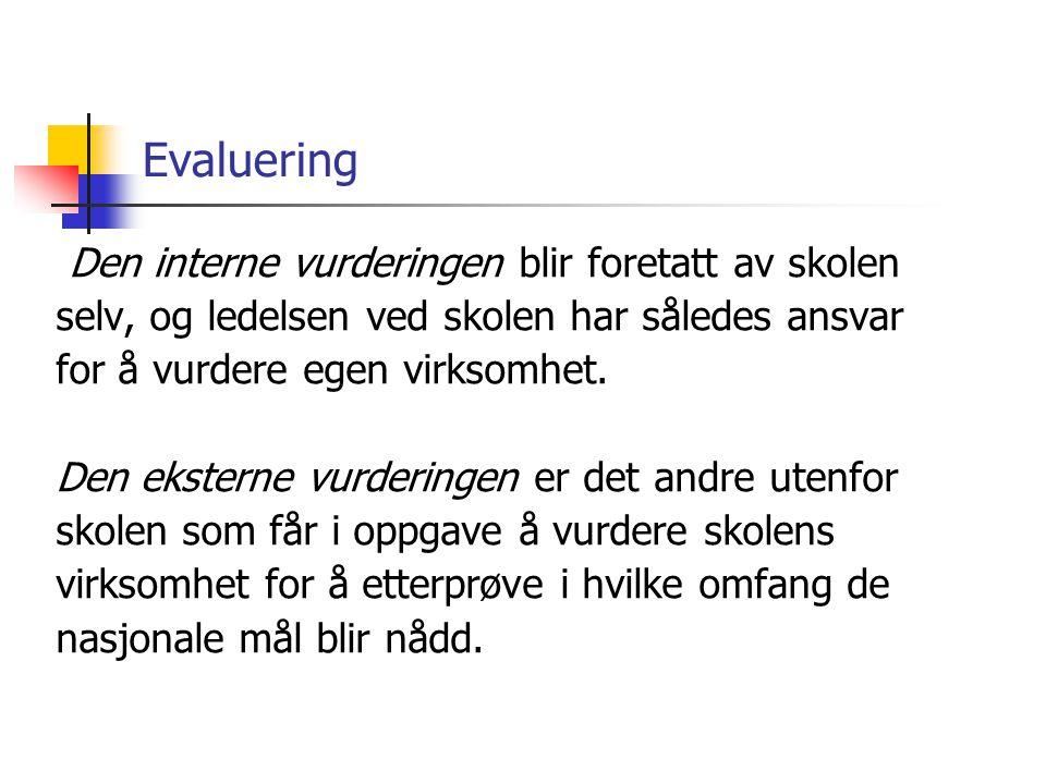 Evaluering Den interne vurderingen blir foretatt av skolen