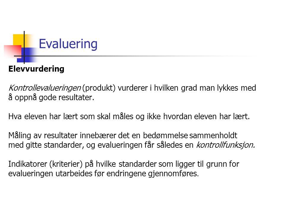 Evaluering Elevvurdering