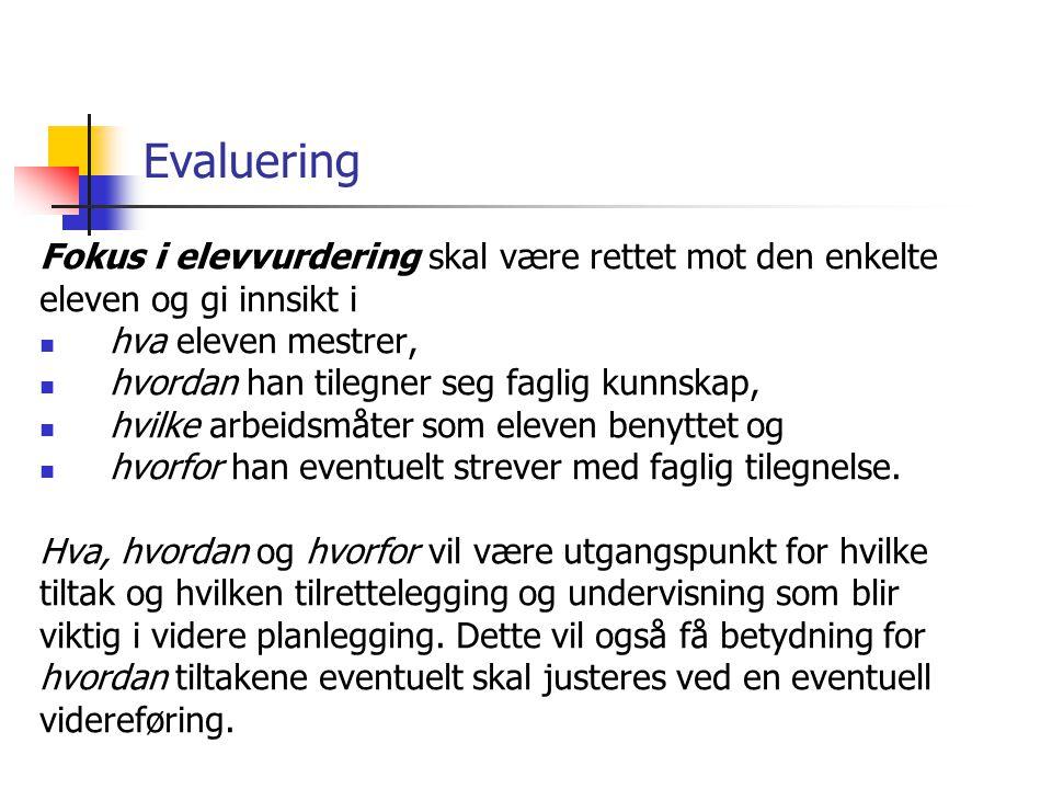 Evaluering Fokus i elevvurdering skal være rettet mot den enkelte