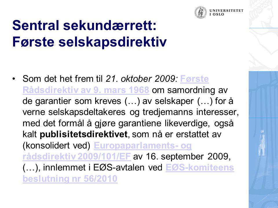 Sentral sekundærrett: Første selskapsdirektiv