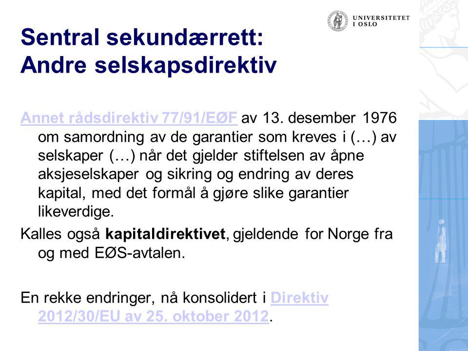 Sentral sekundærrett: Andre selskapsdirektiv