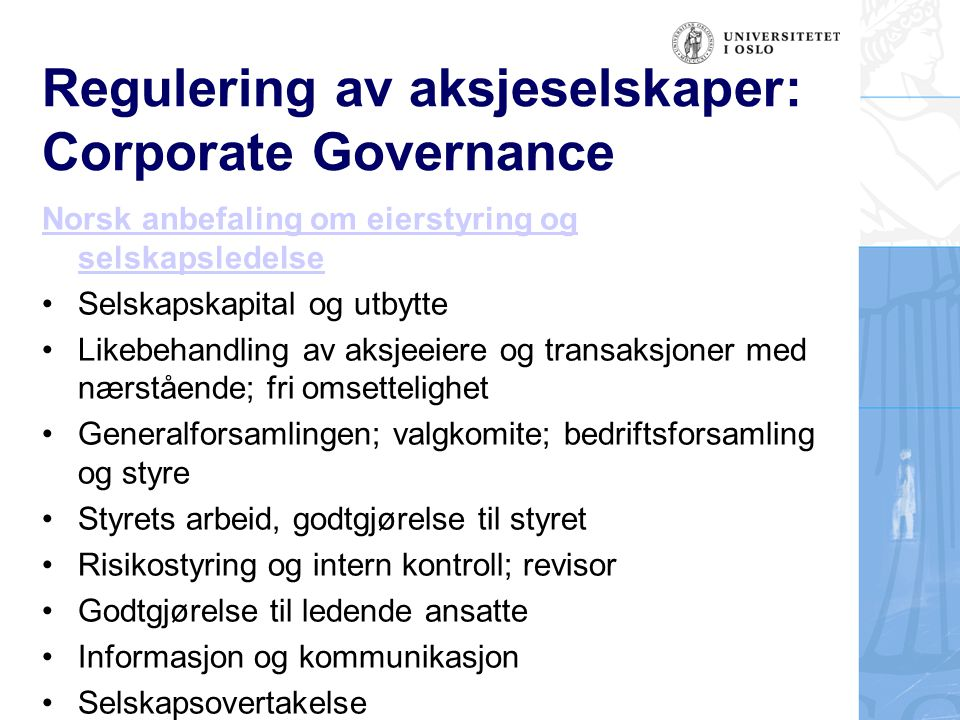 Regulering av aksjeselskaper: Corporate Governance