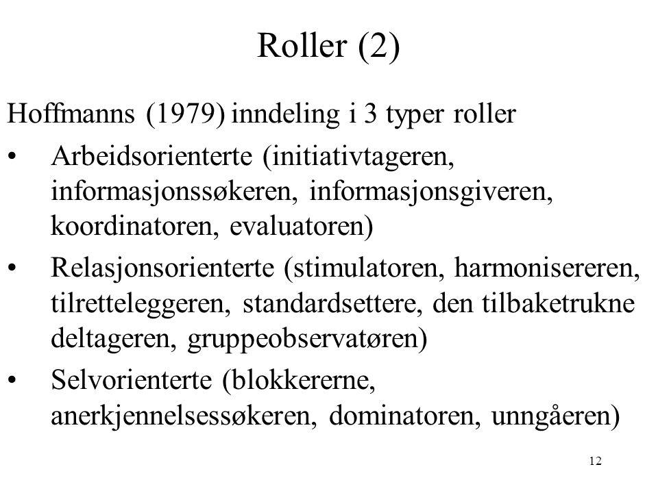 Roller (2) Hoffmanns (1979) inndeling i 3 typer roller