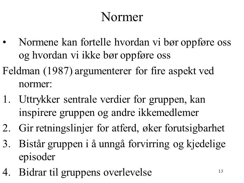 Normer Normene kan fortelle hvordan vi bør oppføre oss og hvordan vi ikke bør oppføre oss. Feldman (1987) argumenterer for fire aspekt ved normer: