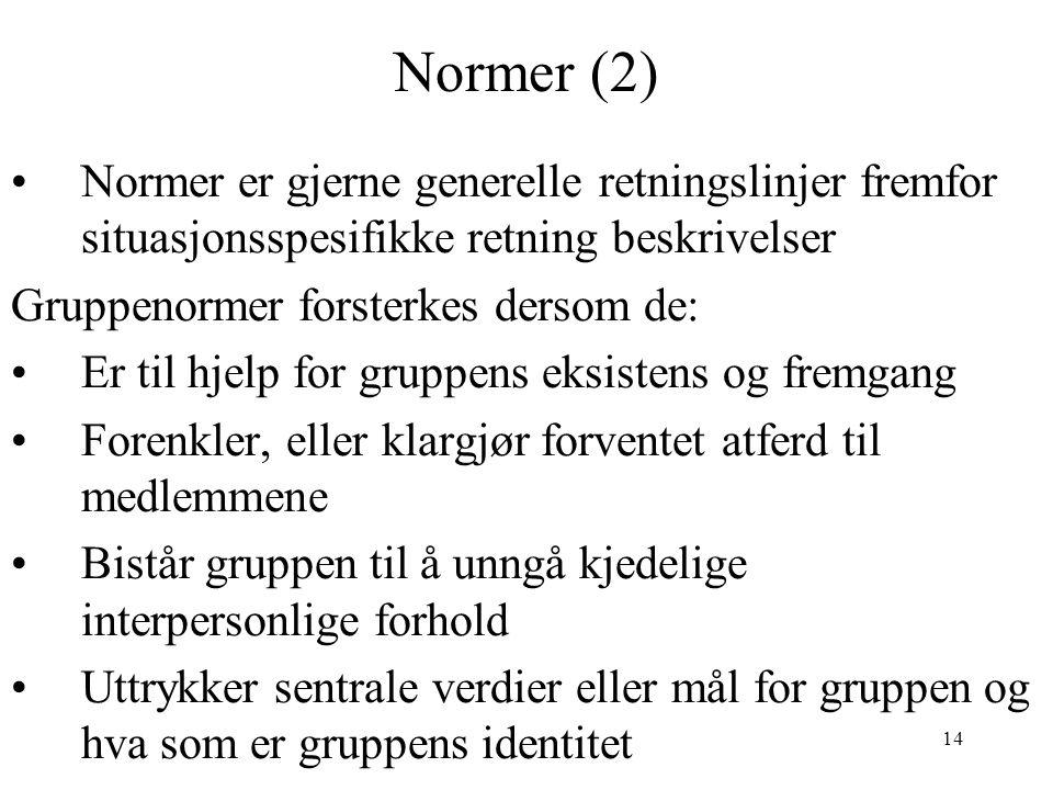 Normer (2) Normer er gjerne generelle retningslinjer fremfor situasjonsspesifikke retning beskrivelser.