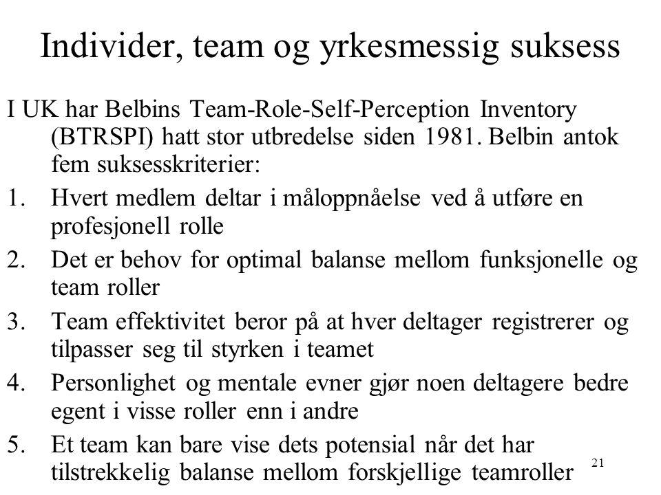 Individer, team og yrkesmessig suksess