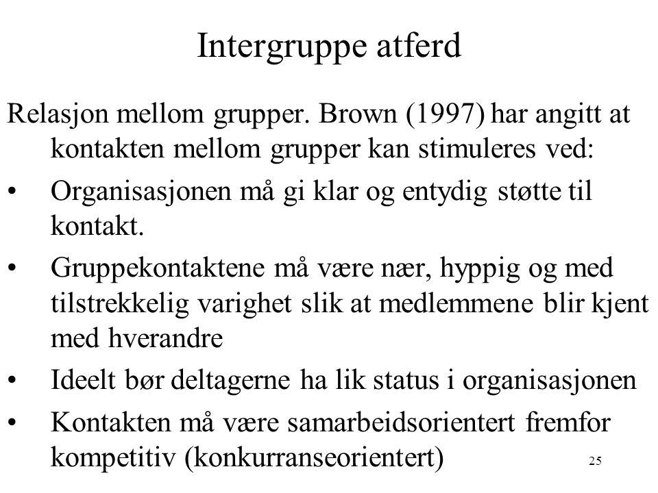 Intergruppe atferd Relasjon mellom grupper. Brown (1997) har angitt at kontakten mellom grupper kan stimuleres ved: