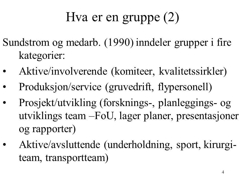 Hva er en gruppe (2) Sundstrom og medarb. (1990) inndeler grupper i fire kategorier: Aktive/involverende (komiteer, kvalitetssirkler)