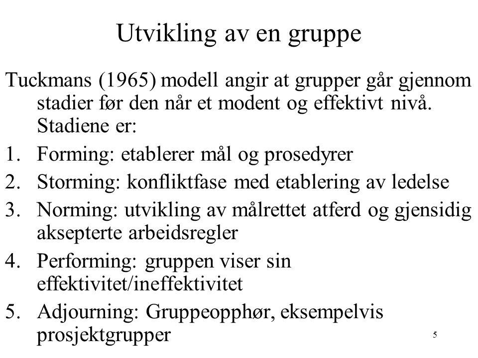 Utvikling av en gruppe Tuckmans (1965) modell angir at grupper går gjennom stadier før den når et modent og effektivt nivå. Stadiene er: