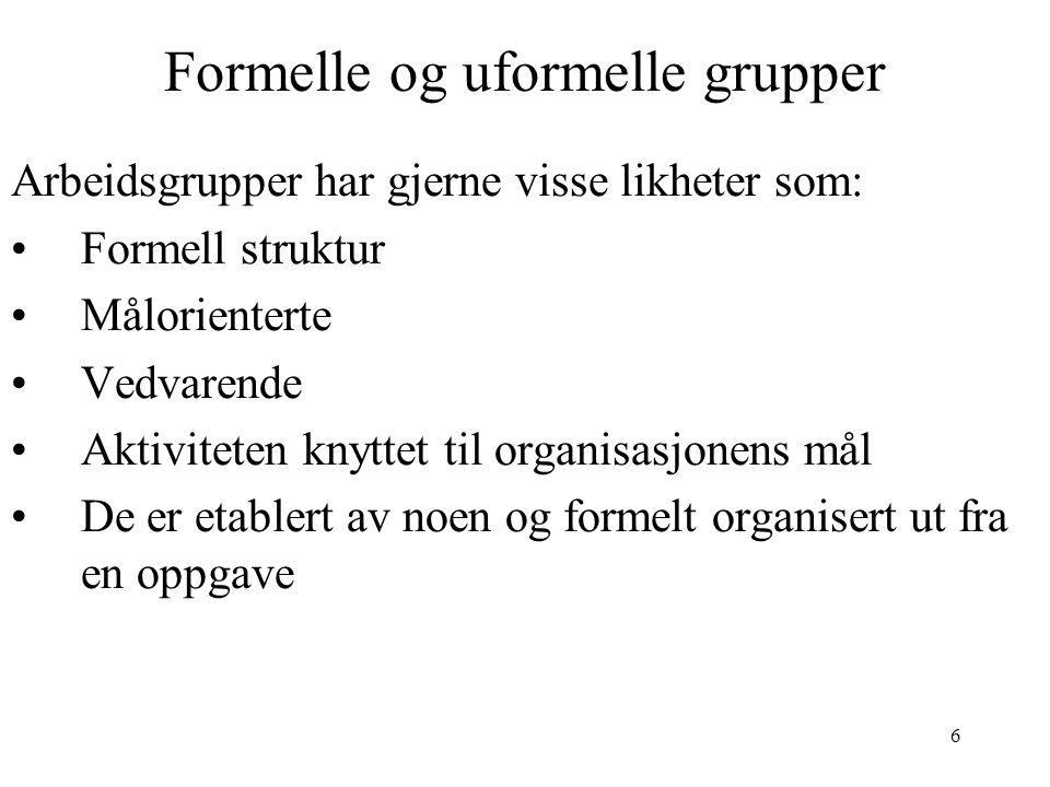 Formelle og uformelle grupper