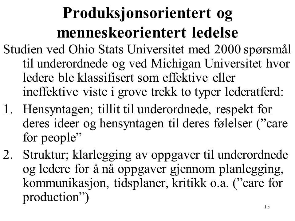 Produksjonsorientert og menneskeorientert ledelse