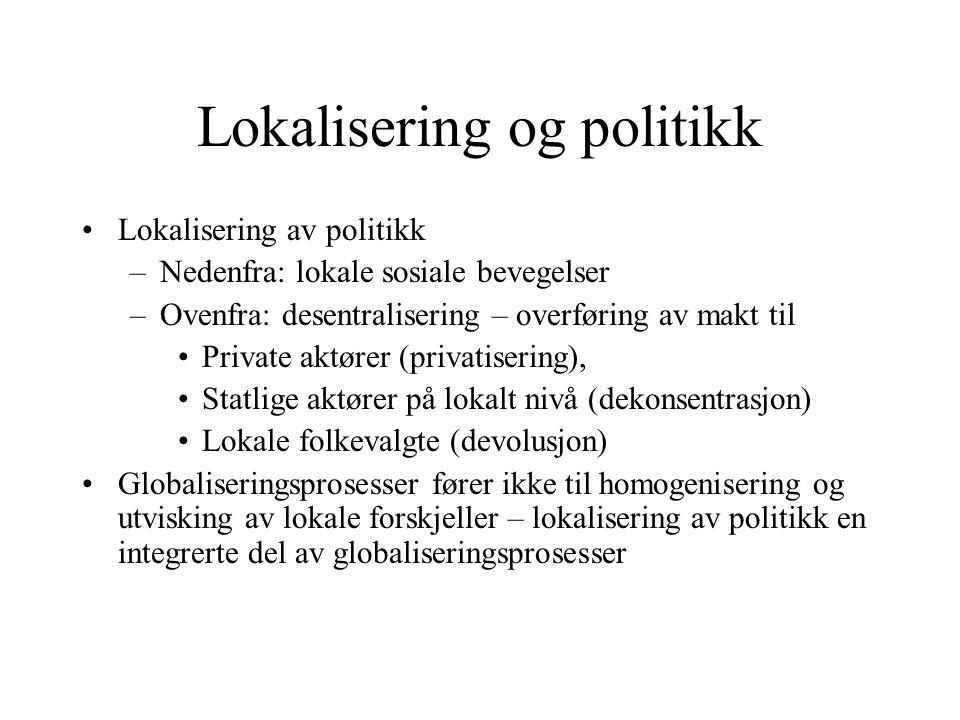 Lokalisering og politikk