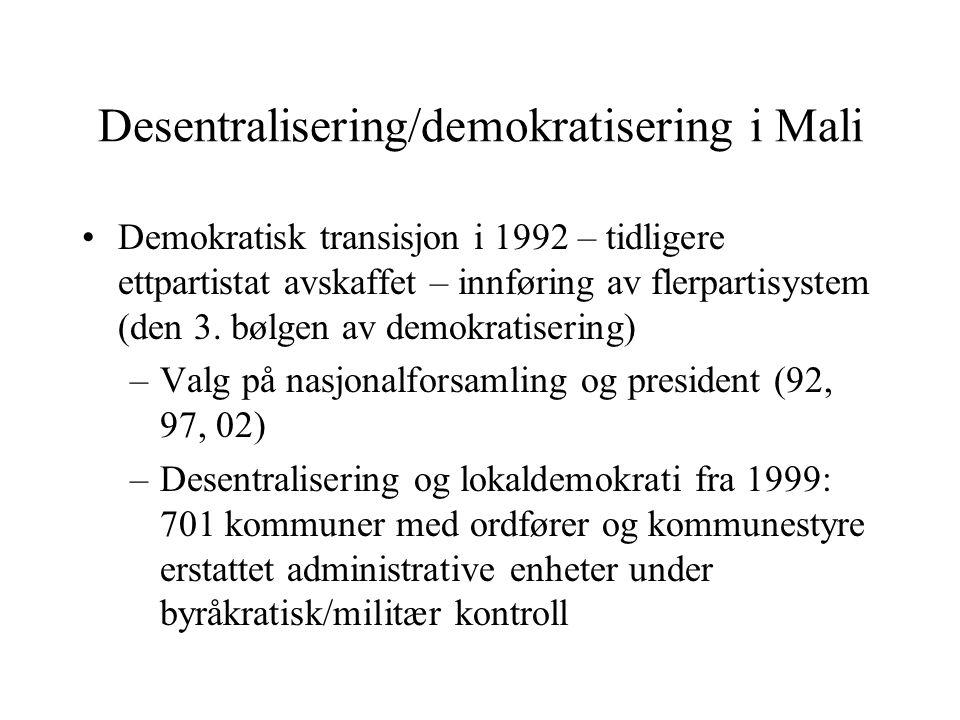 Desentralisering/demokratisering i Mali