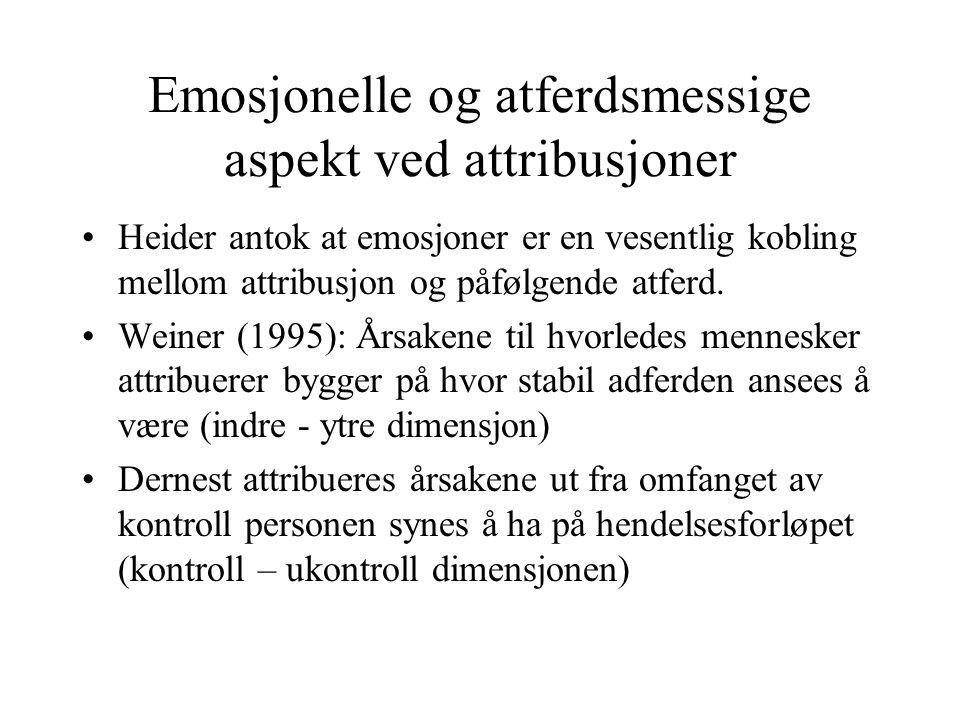 Emosjonelle og atferdsmessige aspekt ved attribusjoner