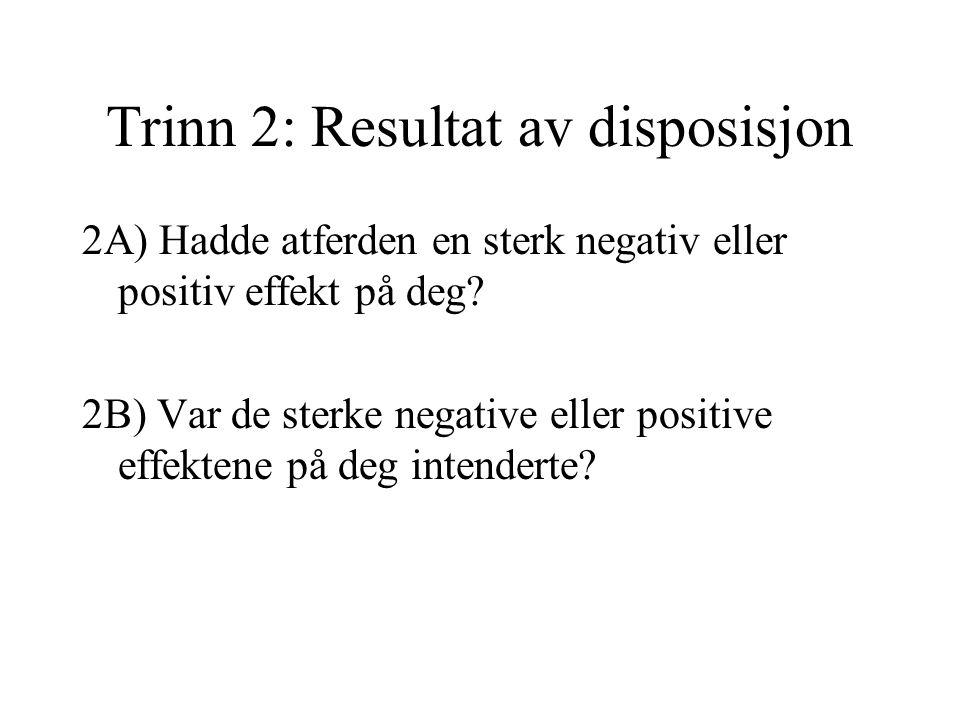 Trinn 2: Resultat av disposisjon