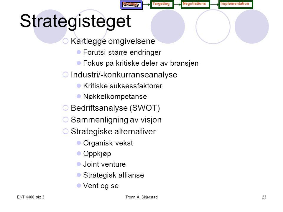 Strategisteget Kartlegge omgivelsene Industri/-konkurranseanalyse