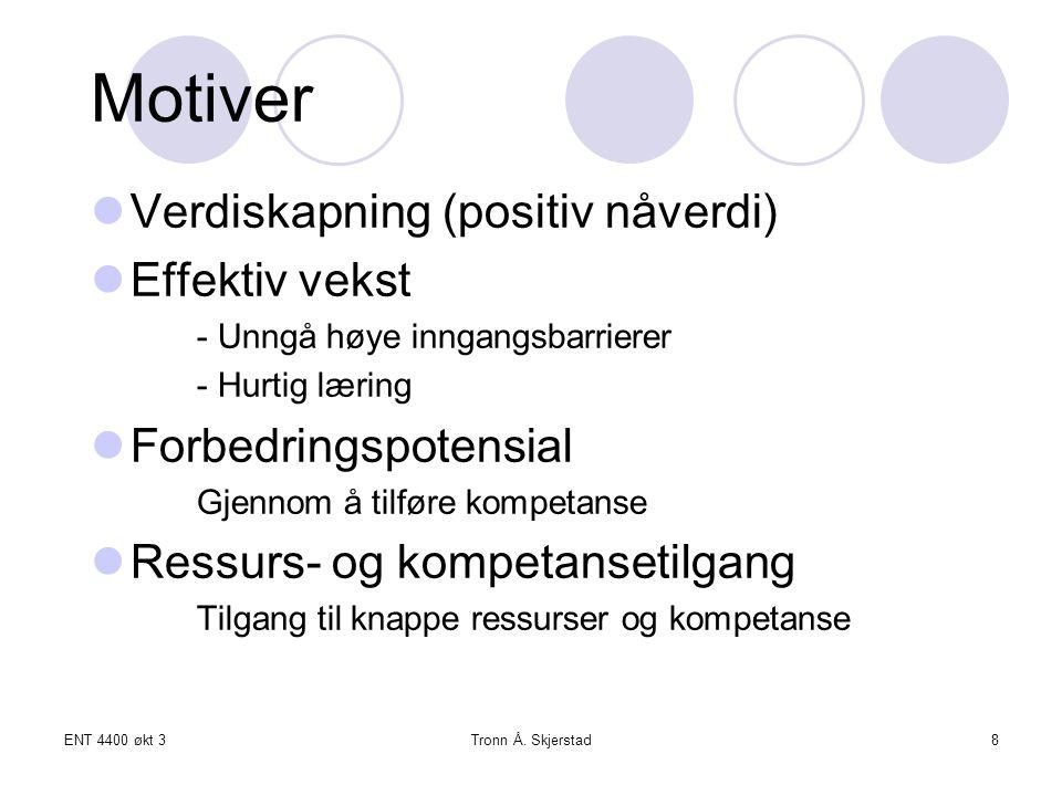 Motiver Verdiskapning (positiv nåverdi) Effektiv vekst