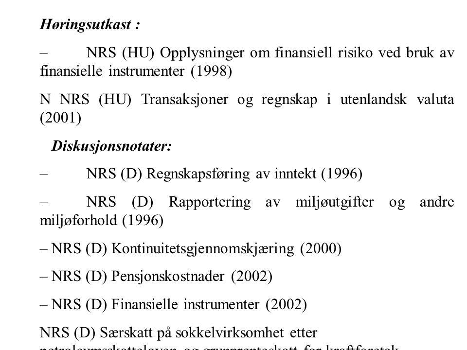 Høringsutkast : – NRS (HU) Opplysninger om finansiell risiko ved bruk av finansielle instrumenter (1998)