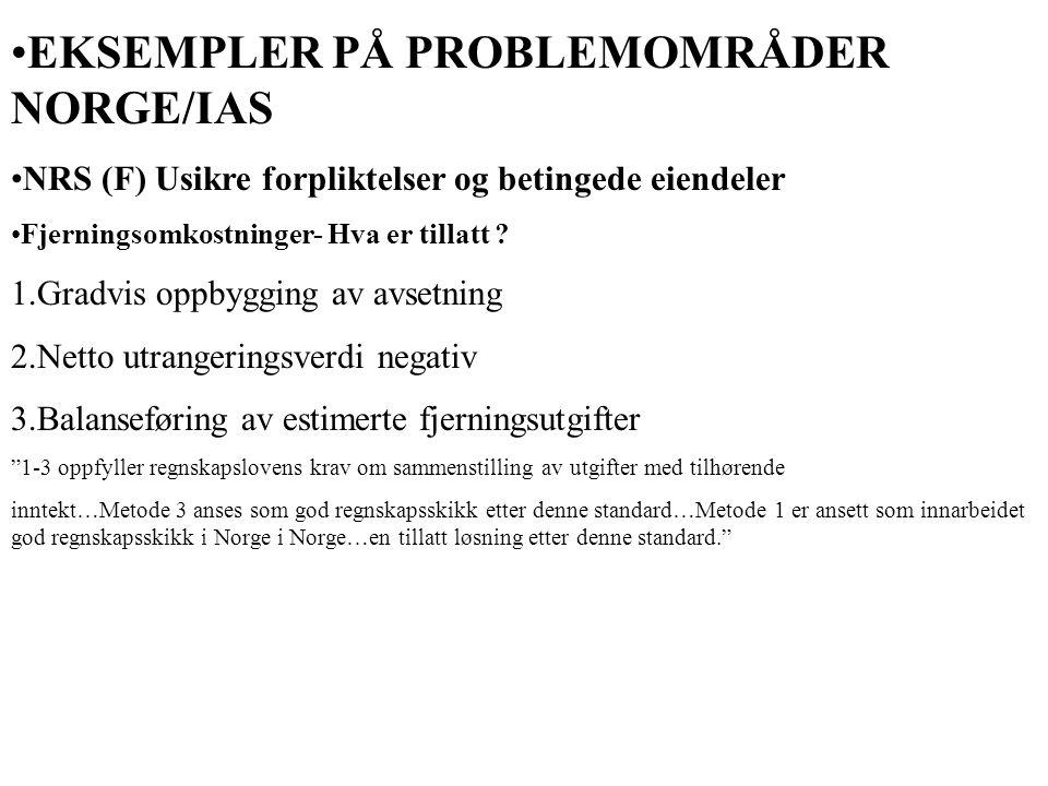 EKSEMPLER PÅ PROBLEMOMRÅDER NORGE/IAS